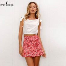 Buy PinkyIsBlack red wrap skirts womens Floral print summer style mini skirt Streetwear ruffle high waist short skirt female 2018 for $12.31 in AliExpress store