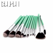 2017 New Full Brushes Make Up Tool Kit Face Eyes Lips Beauty High Quality 11pcs Green Cosmetics Brushes Set for Women Makeup(China)
