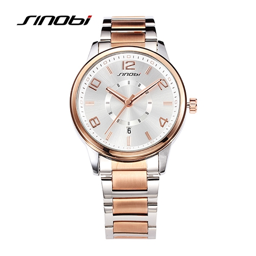Watches Men Luxury Brand SINOBI Fashion Mens Quartz Watch Casual Waterproof Men Full Steel Gold Wristwatches relogio masculino<br>