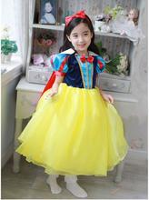 2017 New Arrival Cartoon Snow White Princess Dress with cape Baby Girl Dress Hot Sale Children Costume party dress free shipping