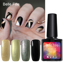 Belle Fille Bling Shining Gel Polish UV LED Curing Gel Colorful UV Gel Nail Polish Soak Off Varnishes Nail Gel(China)