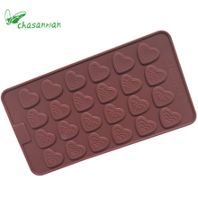 1 pc 21.5*11.7*0.3cm 24 Grids 4 kinds Mini Love Sheet Shape Chocolate Fondant Cake Cookie DIY Silicone Mold Decorating Tools .q