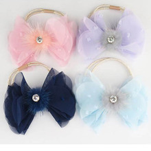 Chiffon bowknot hair bands fashion mink ball handmade hair rope black red pink grey yellow hair band in women hair accessories
