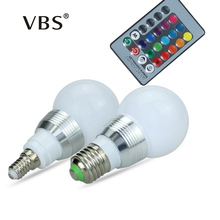 E27 E14 RGB Bulb Lamp AC100-240V 3W LED Spot Light Dimmable Magic Holiday RGB Lighting IR Remote Control 16 Colors 270 Degree