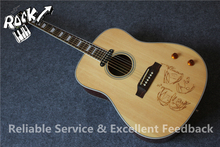 All Real Pictures John Lennon Signature J160E Aoustic Guitar Top Drawing Chinese Acoustic Guitars In Stock