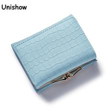 Fashion Stone Women wallet small three fold PU leather coin wallet mini size women purse brand designed female coin purse wallet