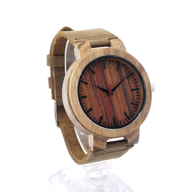 BOBO BIRD C16 Mens Design Brand Luxury Zebra Wooden Watches With Red Wood Dial Face Real Leather Band Quartz Watch in Gift Box<br><br>Aliexpress