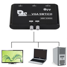 New Original 2 In 1 Out VGA/SVGA Manual Sharing Selector Switch Switcher Box For LCD PC Wholesale