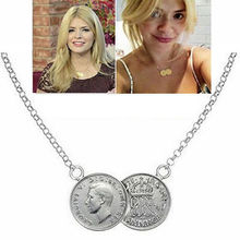 2015 new arrivel Celebrity Lucky Double Coins Pendant Gold Chain Choker Necklace Holly Towie Gift Free shipping