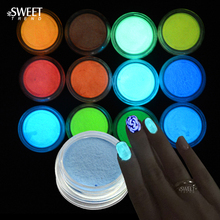 SWEET TREND 12 Bottle/Set Ultrafine Fluorescent Glitter Nail Art DIY Glow Powder Dust Bright Pigment Luminous Glitter LAYS01-12