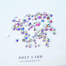 Sale! Super 10garm/Bag Mix Sizes Clear Crystal AB Round Nail Art stickers Rhinestones Glitter Decoration accessories design nail(China)
