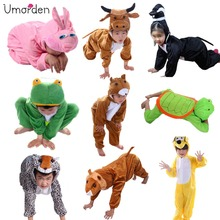Cartoon Children Kids Animals Costumes Cosplay Clothing Jumpsuit Lion Mouse Leopard Cat Halloween Animal Costume for Boy Girl(China)