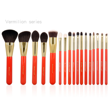 17pcs Professional Makeup Brushes Set Vermilion Synthetic Goat Hair Brush Cosmetic Concealer Foundation Powder Make Up Brush