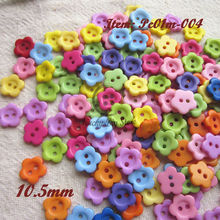 200pcs 10.5mm Mixed color flower plastic button baby sewing button decoration / sewing / craft / scrapbook accessories wholesale(China)