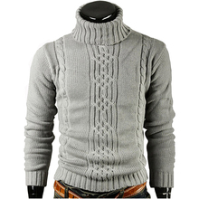 Men Sweater Pullover 2017 Warm winter Male Brand Casual Slim Sweaters Men Solid High Lapel Jacquard Hedging Men'S Sweater XXL(China)