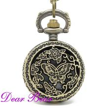(PS041) 12pcs/lot  Victorian Antique Floral Butterfly Pocket Watch Pendant Necklace  Quartz  Dia 2.7cm