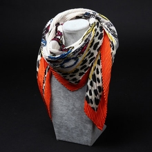 Fashion Women scarf / Fold wrinkle Pleated Printed square silk scarves 90*90cm / Wholesale