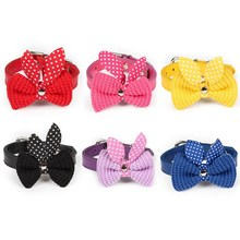 6 Colors Sale Pet Dog Bowknot Adjustable Leather Necklace Pet Cat Collars Leads Collars XS-M Puppy Dog Collars Bow Tie Dog Leash