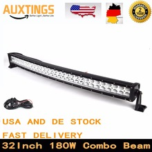"USA DE STOCK 180w curved led light bar 32""inch combo beam 4X4 led light bar offroad Driving Boat Car Tractor Truck SUV ATV(China)"