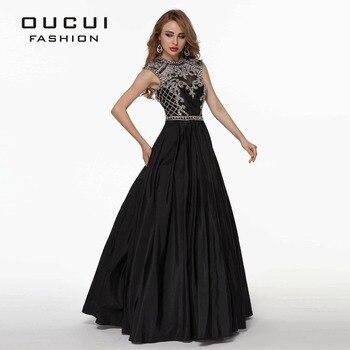 Taffetas Tissu 100% Travail Manuel Sexy Design Noir Couleur Long cristal de bal dress OL102515