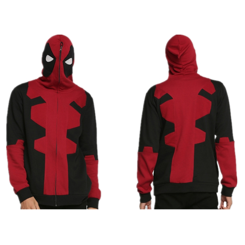 NEWEST Deadpool Cosplay Sweater Zipper Hoodie Unisex Jacket Fleece Sweatshirts