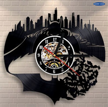 Hot Vinyl Record Wall Clock Batman Arkham City Logo Design Wall Clocks Quartz Mechanism Black Vinyl Record Reloj(China)