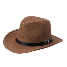 Summer Straw Cowboy Hats for Men,Outdoor Fishing Trip Cap Brown Khaki
