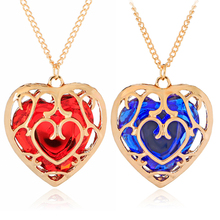 Antique Vintage gold color hollow necklaces women DIY cage heart Perfume jewelry crystal bling patterns angel red blue necklace