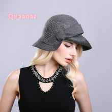 Brand Quality Pure Wooll Bucket Hat For Ladies Blue Wine Red Gray Women Hat Autumn Bowler Winter Woolen Felt Fisherman Cap