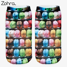 Zohra Donuts Graphic 3D Full Printing Women Low Cut Ankle Sock Lovely Sokker Multiple Colors Cotton Hosiery Socks