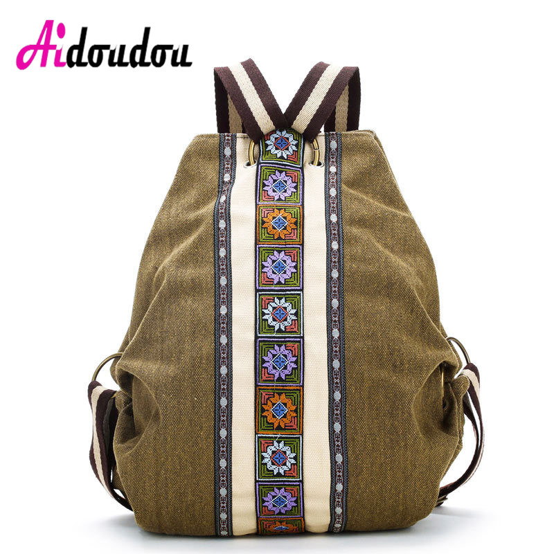 Vintage Canvas National Tribal Ethnic Embroidered Floral Backpacks Womens Travel Rucksack Mochila School Shoulder bag Sac a dos<br>