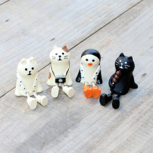 Zakka Style Resin White and Black cat Figurines Miniature Garden Decorations Mini chair Japanese Mini Cat penguin White Bear(China)