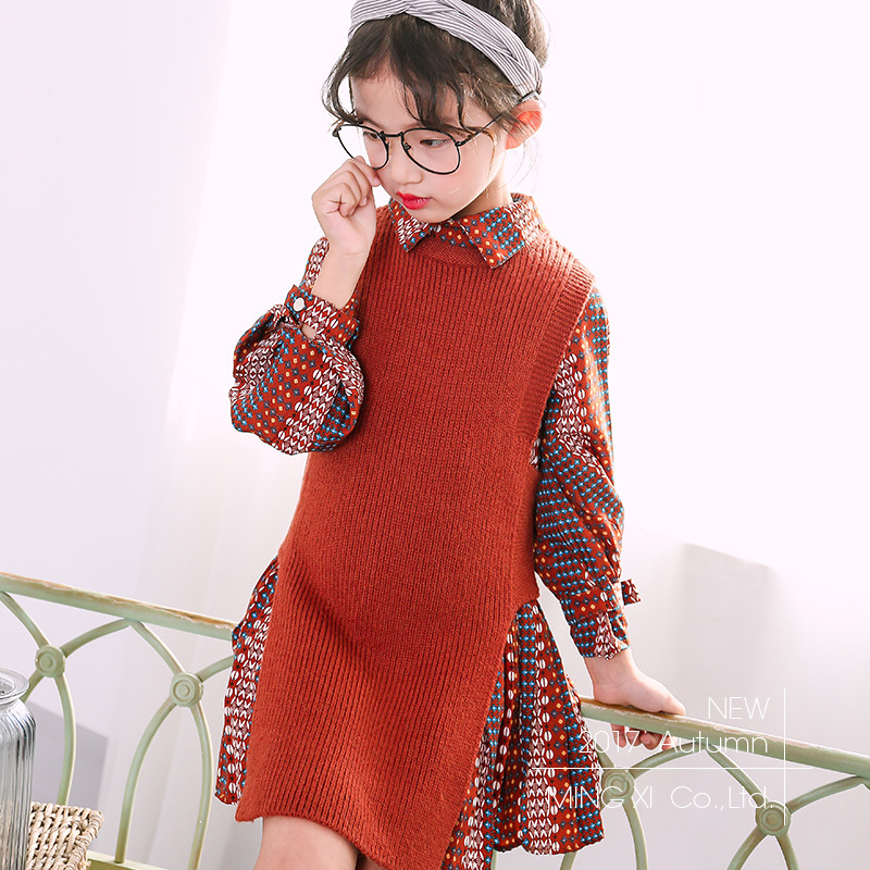 2017 autumn new childrens clothing suit girl knitting suit knitting pullover sweater + dress two sets<br>