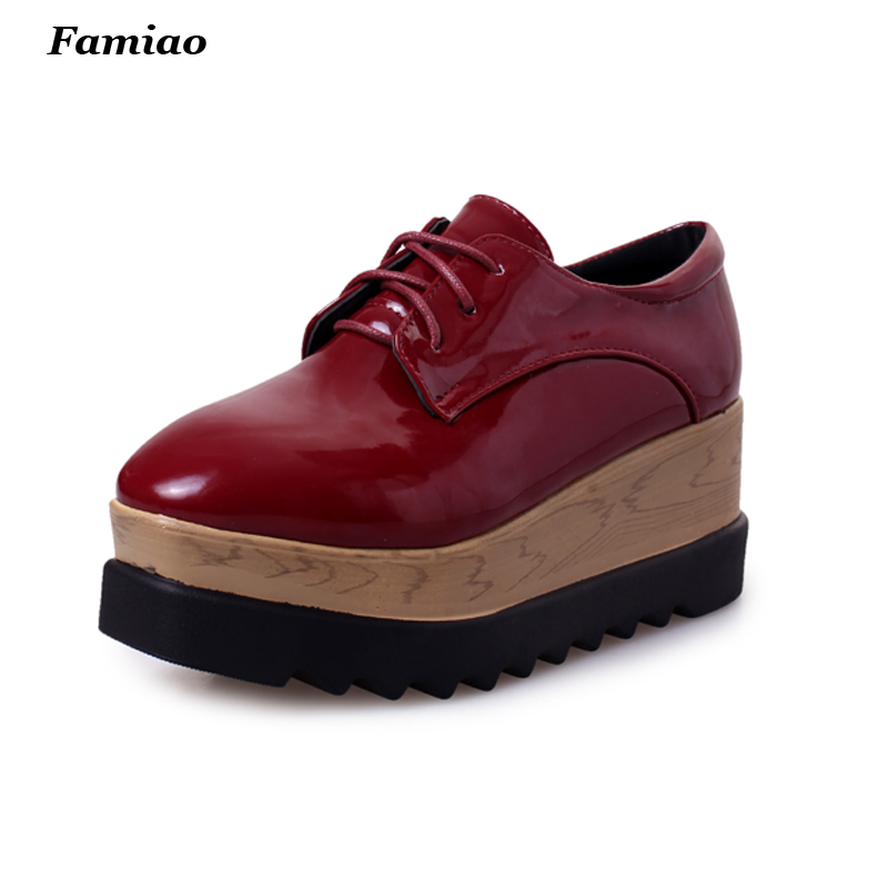 2017 Women Oxfords patent Leather Woman Creepers Ladies Causal Flats Fashion Platform Oxford Shoes for Women<br><br>Aliexpress