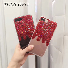 Fashion Bling Glitter China Red case For iphone 6 case For iphone 6 s 7 plus rear luxury Star heart shining powder phone cases(China)