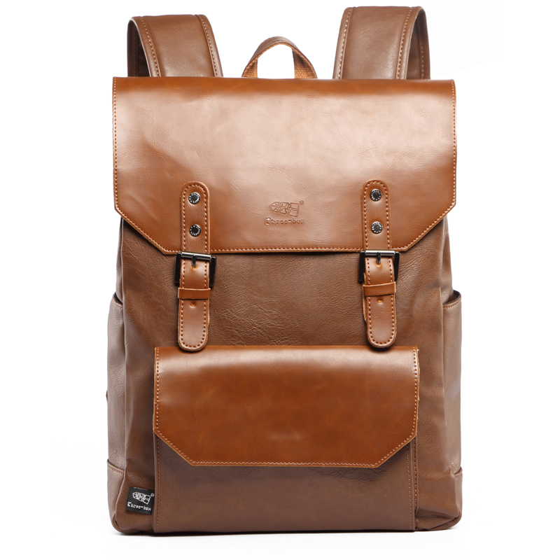 Three Box Design Fashion PU Leather Mens Backpacks Preppy Style School Bag for Teenage Boys Casual Business Laptop Backpack<br>