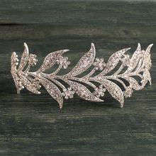 New European Designs Crystal Rhinestone Bridal Leaf Prom Head Crown Hair Jewelry Wedding Pageant Tiara Hair Accessories