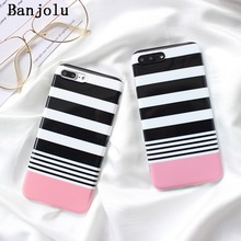 Buy Banjolu Simple Black White Stripes Phone Cases iPhone 8 7 Plus 6 6s 6Plus 6sPlus Case Pink Bottom Soft TPU Back Cover for $5.50 in AliExpress store