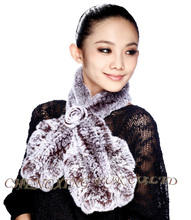 FREE SHIPPING CX-S-48G 2015 New Fashion Knitted Ladies Winter Genuine Rex Rabbit Scarf