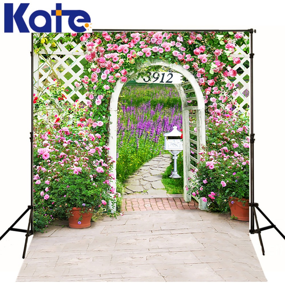 3M*2M(10*6.5 Ft) Kate Gorgeous  Photography Backdrop Backyard Flower Arched Door Photography Backgrounds For Wedding  Background<br>