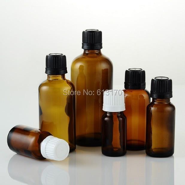 5ml,10ml,15ml,20ml,30ml,50ml,100ml Empty Glass Bottles Amber Vials With White,Black Tamperproof Cap Brown Essential Oil Bottles<br>