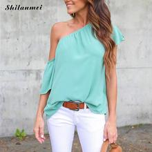 Women One shoulder Blouses 2017 Summer Casual Short Sleeve Blouse Shirt Sexy Off Shoulder Female Tops Loose Solid Blusas