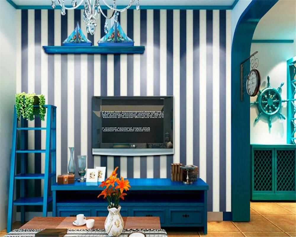Beibehang papel de parede Mediterranean wind children wallpaper sitting room the bedroom of England stripe 3d wallpaper roll<br>