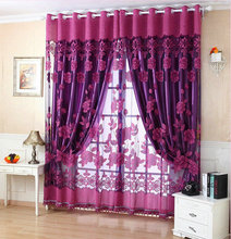 Free Shipping Ready Made Luxury Curtains For Lving Room/Bedroom Tulle+100% Blackout Curtain Purple Brown Making Online Store(China)