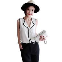 Hot 2017 Summer Style Fashion Work Wear Ladies Tops Womens Casual White V Neck Sleeveless Black Side Chiffon Blouse Shirt