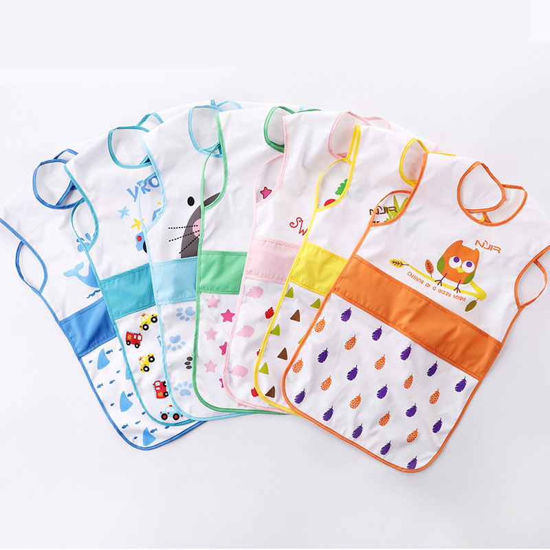 Lengthened Children Apron Cover Overall Baby Bibs Waterproof Art Smock Kids Cartoon Baby Bibs Infant Apron Kids Feeding Clothing(China (Mainland))