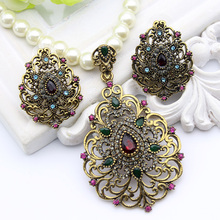 Vintage Flower Imitation Pearl Jewelry Sets Antique Gold Color Beaded Necklace&Earrings Rhinestone Jewelry India Wedding Bijoux(China)