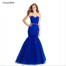 2017Sweetheart Royal Blue Evening Dress 2017 Elegant Mermaid Prom Dress Designer Beaded Long Gowns Xiangyihui Brand