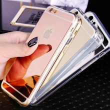 Luxury Rose Gold Plating Mirror Case For Iphone 6S Soft TPU Cover For Iphone 6S 7 Plus 5 5S Ultra Slim Clear Shell Phone Cases