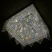 Free shipping FOR DHL luxury modern crystal chandelier for living room L80*W80*H30cm squre lustres de cristal for home